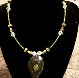 Yellow and black crystal necklace
